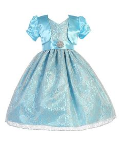 Silver & Turquoise Brooch A-Line Dress & Jacket - Toddler & Girls