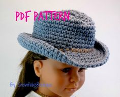 PDF PATTERN for Western Cowboy Hat  for American Girl 18 inch Doll snowflakeboutique 5.00 USD October 16 2015 at 12:41PM