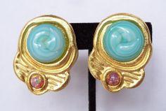 Vintage Gerard Yosca Egyptian Revival Huge Runway Gripoix Glass Clip Earrings #GerardEYosca #Clip