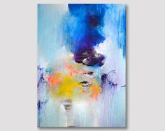 Original gran pintura abstracta arte amarillo púrpura azul oscuro, arte abstracto, pintura de acrílico sobre lienzo, obra de arte