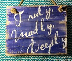 """This hand-painted, wood sign comes with a message of love for your home decor. This wall sign measures approximately 7""""x12""""  All of my creations are made of reclaimed pallet boards. They are hand-painted with happiness and love. All creations are made after they are ordered."""