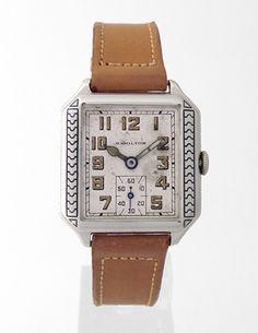 "Hamilton ""Square B Engraved"" Vintage Deco Watch, 1920s (Retroworx Collection)"