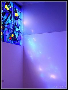 Stained glass window by Joan Miro, Fondation Maeght, France; photo by L. Buffetaud, via Flickr
