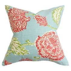 "Cotton pillow with a floral motif and feather-down fill. Made in the USA.  Product: PillowConstruction Material: Cotton cover and 95/5 down fillColor: AquaFeatures:  Insert includedHidden zipper closureMade in Boston Dimensions: 18"" x 18""Cleaning and Care: Spot clean"