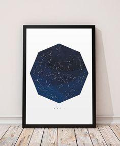 Constellation prin, Space art, carte graphique étoiles, espace décor, décor de Constellations, impression Galaxy, Galaxy décor, art astronomie, astrologie art  === Mur dart moderne, parfait pour décorer votre maison ou au bureau !  Imprimé sur du papier Canson 270 gsm utilisant des encres de qualité supérieure.  Les tailles disponibles sont :  A4 / 210 x 297mm / 8 x 11,7 pouces A3 / 297 x 420mm / 11,7 x 16.5 pouces A2 / 420 x 594mm / 16,5 x 23,4  Vous voulez une autre taille/couleur ?…