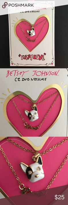 NWT Necklace Betsy Johnson 🐶 Rare Beautiful necklace for dog lovers   Double necklace French bulldog   Tag. Frenchies dog Betsy Johnson earring Betsey Johnson Jewelry Necklaces