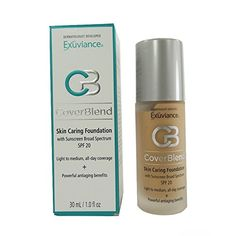 "Exuviance - CoverBlend Skin Caring Foundations SPF 20 True Beige. This light to medium coverage ""all day wear"" foundation is your final step in skin care. It contains a patented polyhydroxy acid that reduces the appearance of fine lines and wrinkles, provides moisturization, and a non-chemical SPF 20. ""Makeup that is good for your skin."" Exuviance Skin Caring Foundation is a revolutionary final step in your skin care regimen. It has a natural light diffusing coverage that lasts all day…"