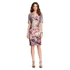 Target: Donna by Donna Ricco Printed Scuba Sheath Dress Gray/Pink Floral $120 (1/16)