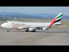 Emirates Sky Cargo Boeing 747 OO THC landing runway 14 and taxiing at ZR. Boeing 747, Atc, Landing, Plane, Aviation, Aircraft, Runway, Youtube, Cat Walk