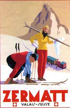 Cool Vintage Ski Posters And Inspiring Ideas Of Zermatt Travel Art Poster Print Swiss Wall Decor 5 - Best Posters Vintage Ski Posters, Retro Poster, Poster S, Poster Prints, Art Print, Zermatt, Party Vintage, Pub Vintage, Vintage Gifts