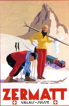 Zermatt. vintage ski poster - Matterhorn and Gornergratt train