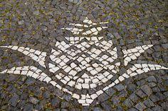 Pineapple Pavement decoration at the Arruda pineapple plantation, Ponta Delgada, Azores.