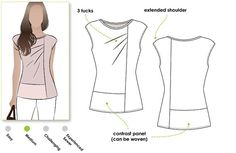 Knit top sewing pattern for women in sizes 8, 10 and 12. PDF pattern for instant download. See size chart in the gallery to choose your correct size! Sizes 4 - 30 are available in our store. This casual but fashionable top features panels which can be colour mixed. The lower panels may be made in a soft woven so why not design your own look? We love the flattering extended shoulder the beautiful drape created by the front tucks. *** 24 pattern tile pages *** Pattern measurements based on…