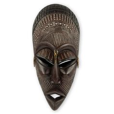 Yaa Asantewa Unique Hand Crafted Wood and Metal African Mask Wall Décor
