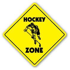 Hockey Crossing Sign Zone Xing new caution puck stick player team trophy Ice Hockey Teams, Blackhawks Hockey, Hockey Goalie, Hockey Mom, Field Hockey, Hockey Players, Hockey Stuff, Hockey Birthday, Hockey Party