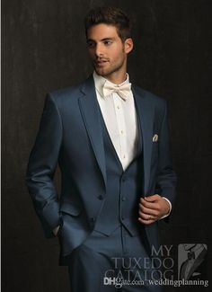 2015 Slim Fit Groom Tuxedos Pinterest Pupular My Favourite Gnetleman Wedding Suit For Man Groom Wear Formal Boys Jacket+Bow+Vest+Pans from Weddingplanning,$115.19 | DHgate.com