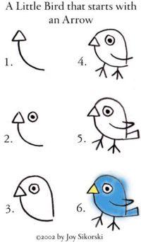 How to draw a little bird