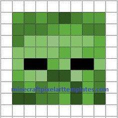 Minecraft Pixel Art Templates: Zombie