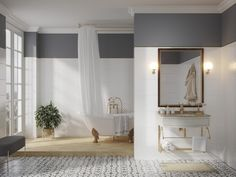 Бордюры для плитки могут применяться везде, где используется кафельная плитка. Это важный элемент в ремонте, придающий законченный вид помещению, будь то ванная комната или кухня. Он также играет роль декоративной изюминки, которая может использоваться для разделения зон, выложенных плиткой. #Серый#глянцевый#металлик#бордюр#зонирование#design#interior#bathroom#gold Oversized Mirror, Furniture, Home Decor, Decoration Home, Room Decor, Home Furnishings, Home Interior Design, Home Decoration, Interior Design