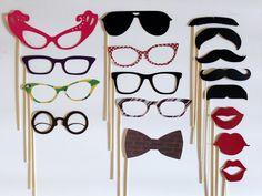 Photo Booth Props. PhotoBooth Props. Mad Men Party. Wedding Photos- Seventeen Photobooth Party Props. $57.00, via Etsy.