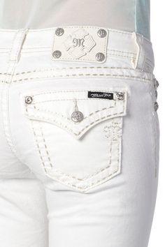 New Miss Me White BASIC SADDLE STITCH BORDER Signature BOOT CUT JEANS size 30 #MissMe #BootCut