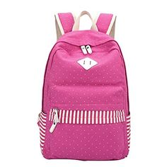 Noiner Canvas College School Bags Girls Backpack Bookbags Back Packs Rose Red -- Read more  at the image link.