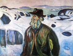 The Athenaeum - Old Fisherman on Snow-Covered Coast (1930) (Edvard Munch - )