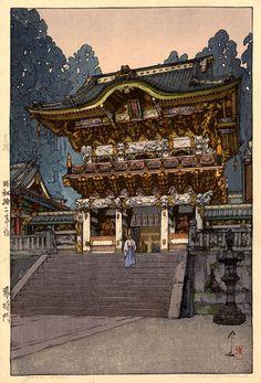 hanga gallery . . . torii gallery: Yomei Gate by Hiroshi Yoshida