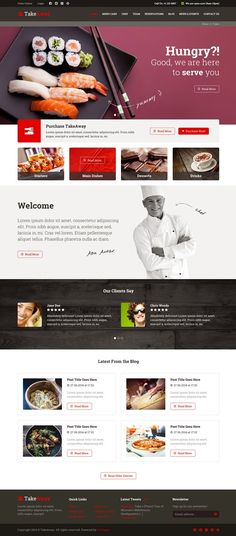 TakeAway Online Food Ordering PSD Template - Download New Themes
