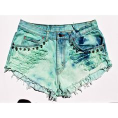 High Waisted Denim Shorts Vintage Levis Dyed Denim Shorts Studded... ($49) ❤ liked on Polyvore featuring shorts, bottoms, high-waisted denim shorts, jean shorts, distressed high waisted shorts, distressed jean shorts and denim cutoff shorts