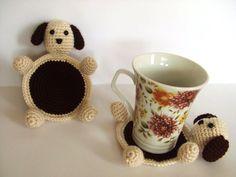 crochet amigurumi cute dog coasters handmade  enjoy by hayalce