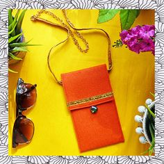 Orange Wool Cross Body Summer Bag for Women Handmade by TOOCHEme