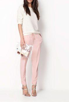 Women Chiffon Elastic Waist Casual Loose Pants Drawstring Harem Pants Trousers   eBay
