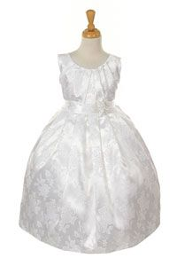 Flower Girl Dresses - Girls Dress Style 1155- Embroidered Satin Dress in Choice of Color