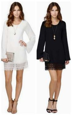 cute Black White Tunic long sleeve dress. would be a modest look paired with some leggings.
