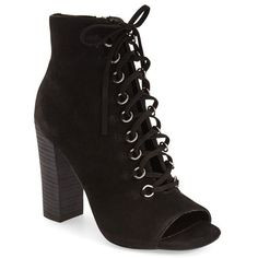 """Steve Madden 'Freemee' Open Top Lace-Up Bootie, 4"""" heel (200 CAD) ❤ liked on Polyvore featuring shoes, boots, ankle booties, black nubuck, peep toe booties, steve madden booties, black booties, lace up ankle boots and black ankle booties"""