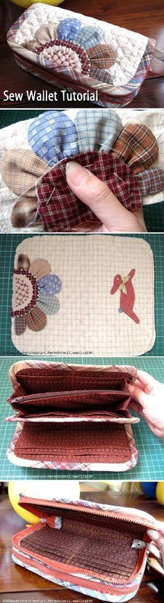 Step by step instructions for sewing a small purse or wallet. http://www.handmadiya.com/2011/04/blog-post_177.html