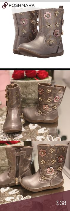 NWOT - Beautiful Naturino Taupe Boots 🌸 Bought these cute boots from Nordstrom Rack.  Apparently 18month olds know Fashion too because my daughters didn't like them 🙄 No wear & tear since it was never worn - (only in store to try on)   Here is the details: Boots in a man-made upper. Stand-out stitch pattern with dimensional floral applique. Side zipper closure. Soft man-made lining. Round toe. Flexible man-made outsole.  Sold Out From Nordstrom Rack & $58 on other website Naturino Shoes…