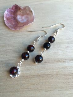 Dark Red Garnet Earrings With Metallic Silver Seed Beads And Chain, Modern Clip On, Birthstone Jewellery, Gift Womens, Baroque Jewellery by MadeByMissM on Etsy