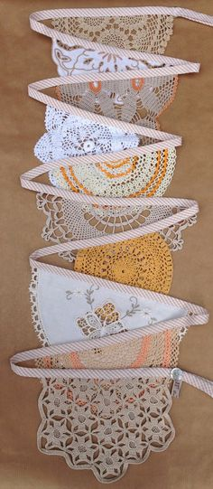 Vintage Doily Bunting Garland (pick up from thrift stores) Doily Garland, Doily Bunting, Doily Art, Bunting Banner, Buntings, Vintage Bunting, Pennant Banners, Doilies Crafts, Crochet Doilies