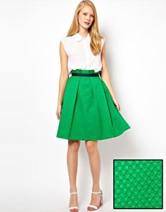 Such a cute Flare skirt - ASOS Midi Skirt in Texture