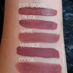 》Comparison of the Nyx Liquid Suede Cream Lipstick in Soft-Spoken with other similar shades - Kat Von D Lolita liquid lipstick (3rd & current release), Mac Whirl matte lipstick, ABH Veronica, & Nyx Cocoa (in black round tube, not matte). Go to hermakeupmemoir.com to see review