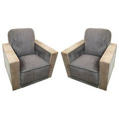Sculptural Pair of Cerused Oak Club Chairs