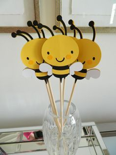 6 Bee Centerpiece Sticks Bee Baby Shower Bee by 2muchpaper on Etsy