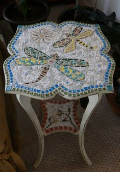 Items Similar To Mosiac Tile Accent Tail Table Shabby Chic With Dragonflies On Etsy Mosaic Furnituremosaic Animalsmosaic Ideasmosaic