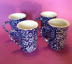 Calico By Churchill - Set Of 4 Mugs Cups - Blue And White Transferware - England Johnson Bros, Wedgwood, Churchill, Mug Cup, Deep Blue, Cup And Saucer, Tea Cups, England, Blue And White