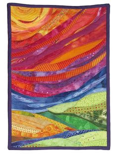 sun quilt: 13×19. Art quilt made by fusing the fabric on muslin, then doing raw edge applique–If Rita ever offers to make me a quilt! So pretty!