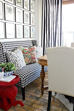 Spring Home Tour || Dimples and Tangles || Gingham Settee at Kitchen Table