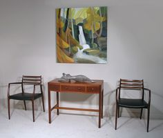 Cotswold School console table or small desk with Moller #62 rosewood armchairs, oil on panel 'Lumsdale' by Lindsey Hambleton and bronze 'River Figure' by Sally Grant. http://www.midcenturyhome.co.uk