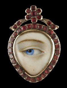 Heart-shaped gold ring with Hessnite garnet surround, ca. 1790. Collection of Dr. and Mrs. David Skier. #lookoflove #eyeminiatures #loverseye